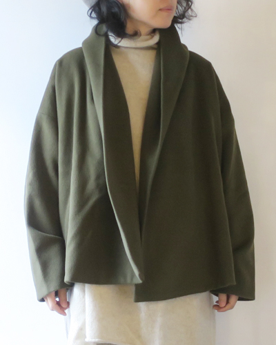 Honnete オネット Shawl Collar Short Cardy Italian Cashmere Mix Melton ショールカラーカーディガン