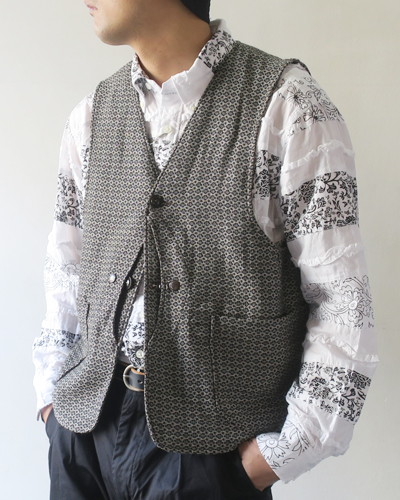 Engineered Garments Upland Vest - Basketweave Cross Dobby エンジニアドガーメンツ ベスト