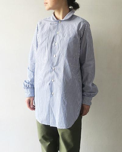 Engineered Garments Rounded Collar Shirt - Medium Stripe Broadcloth エンジニアドガーメンツ ラウンデッドカラーシャツ