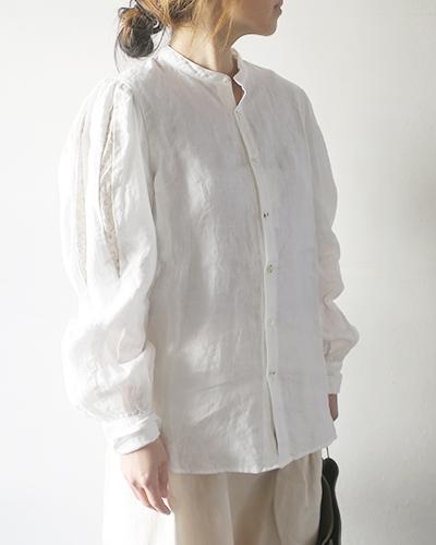 KAPITAL キャピタル フレンチクロスリネン シェイクスピアスリーブ バンドカラーシャツ