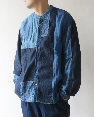 KAPITAL キャピタル 綿×リネン IDGパッチワークバンドカラーカトマンズシャツ