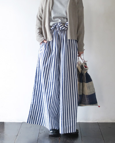 Yarmo ヤーモ DRAWSTRING WIDE CULOTTE PANTS - CANDY STRIPE ドローストリング ワイドキュロットパンツ