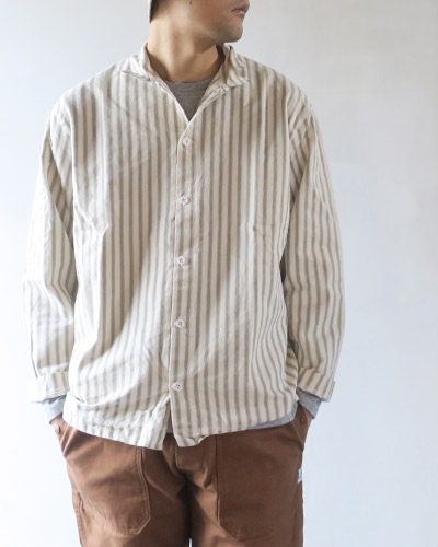 TENDER Co. テンダーコー WS422 WEAVER'S STOCK LONG SLEEVED SQUARE SHIRT - ARMCHAIR STRIPE スクエアシャツ