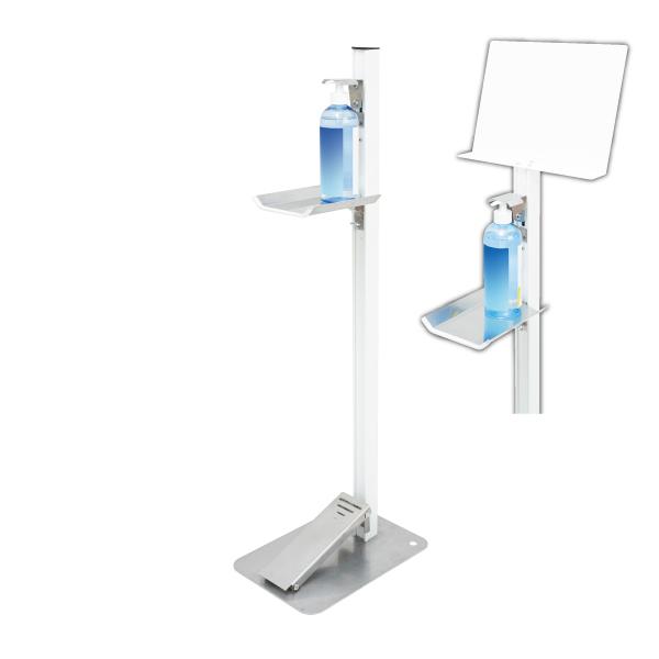 【感染対策】足踏式消毒液スタンド(ホワイト)メッセージボード付(PET製) TTM-08-P1P-W