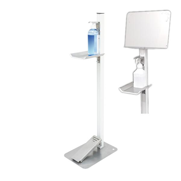 【感染対策】足踏式消毒液スタンド(ホワイト)メッセージボード付(ステンレス製) TTM-08-P1S-W
