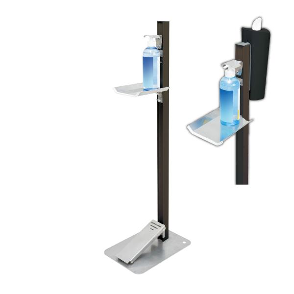 【感染対策】足踏式消毒液スタンド(ダークブロンズ)ティシューホルダー(ブラック)付 TTM-08-P2K-BKC