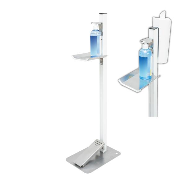 【感染対策】足踏式消毒液スタンド(ホワイト)ティシューホルダー(ホワイト)付 TTM-08-P2W-W
