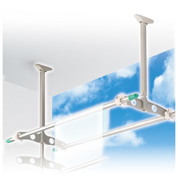 DRY・WAVE(ドライ・ウェーブ) 吊下げ型可動式物干金物(600mm~900mm上下可動3段階) ステンカラー (2本で1組) TD6090<ST>