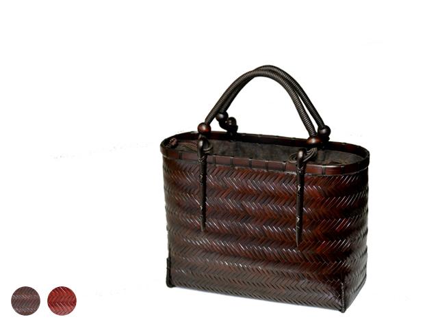 網代編みバッグ 竹バッグ レディース 低い紐手