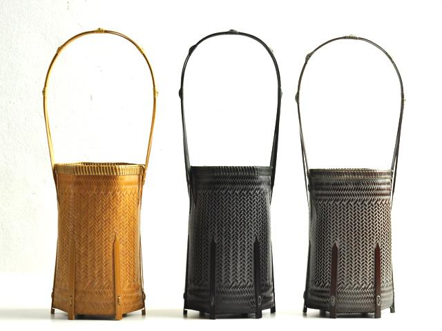 網代編み花籠六角カート1 花器 花入れ 竹
