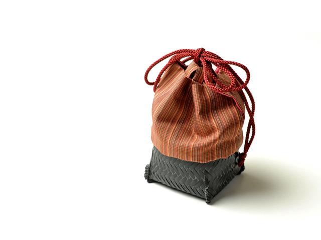籠巾着 かご巾着 ぐい呑み入れ 和小物 籠巾着HAKO紅唐