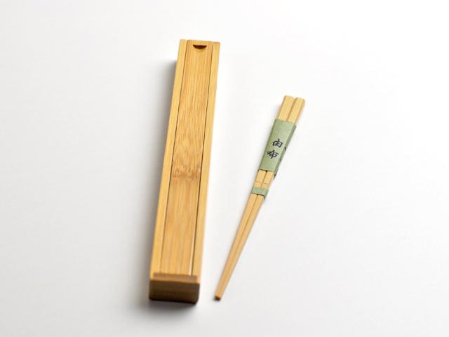 竹の箸箱と竹箸由布カート1
