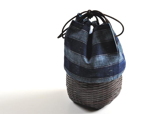 籠巾着「HAKO」舟遊び(ふなあそび)カート1。和柄のかご巾着、男性の方が甚平や浴衣に合わせても素敵