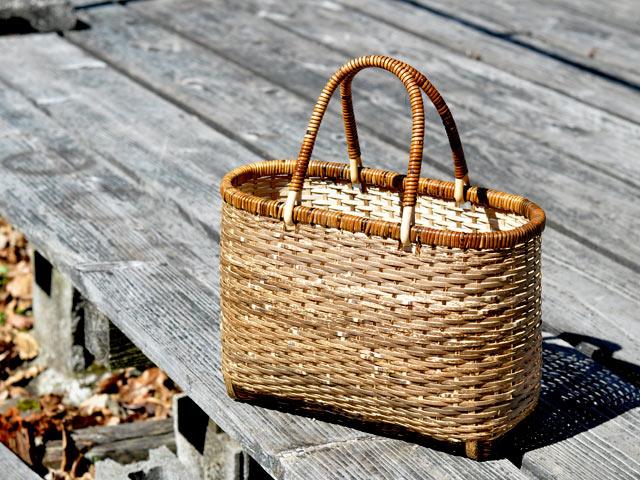 買い物かご、虎竹、マルシェバッグ、ショッピングバスケット、竹かごバッグ