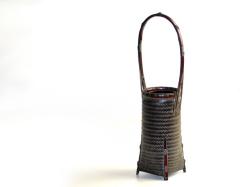 網代編み花籠 丸 竹かご 花入れ