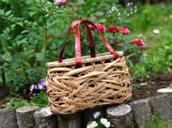 竹かご やたら編みかごバッグ 内袋付き