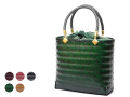 竹バッグ、網代バッグ、緑カート