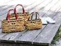 やたら編み竹かごバッグ、S/L/M、3サイズ、かごバッグ、革手カート1
