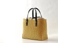 四ツ目編み 竹かごバッグ 革手 カート2
