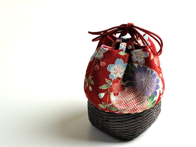 籠巾着「HAKO」手鞠、和小物、竹かご、小物入れ、MYグラス入れ、竹製品、国産手作り
