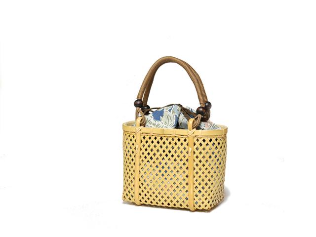 四ツ目編みバッグ、かごバッグ。カート1a