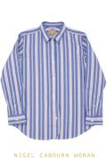 ナイジェルケーボン(NIGEL CABOURN WOMAN)のブリティッシュオフィサーズシャツ(オックス)ブルーストライプ