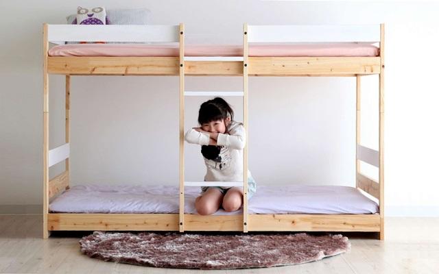 ひのき の 二段ベッド (ナチュラル+ホワイト) NH01B-HKW  国産 【送料無料】