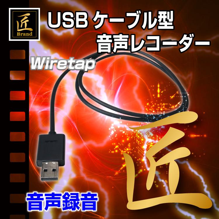 【小型レコーダー】USBケーブル型音声レコーダー(匠ブランド)『Wiretap』(ワイヤタップ)