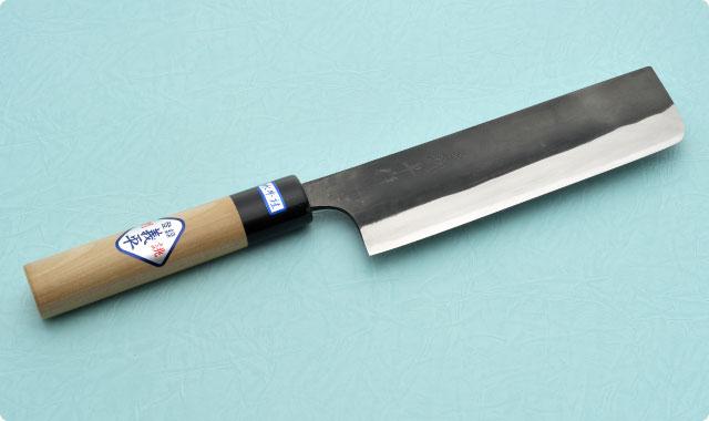 菜切包丁 両刃 165mm 青紙2号(黒打ち) 和包丁タイプ 義平切銘