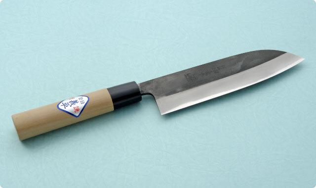 三徳包丁 両刃 165mm 青紙2号(黒打ち) 和包丁タイプ