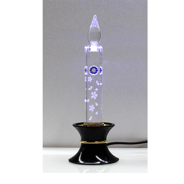 電気クリスタルキャンドル(1灯用)台黒/ブルー