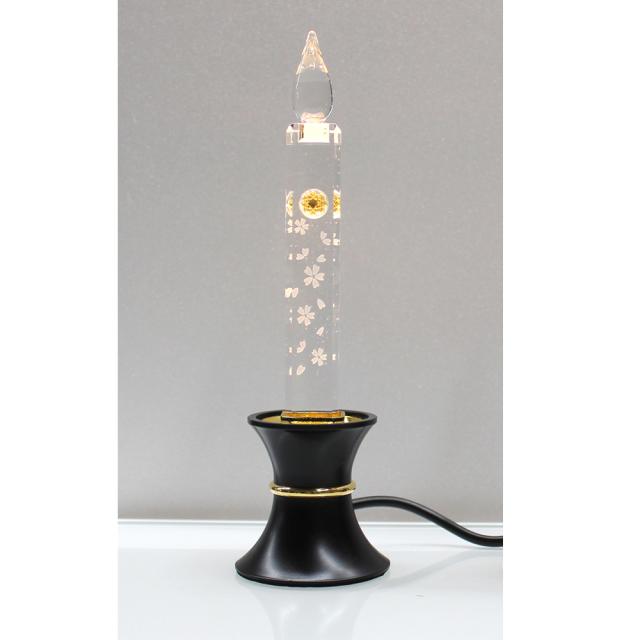 電気クリスタルキャンドル(1灯用)台黒/ゴールド