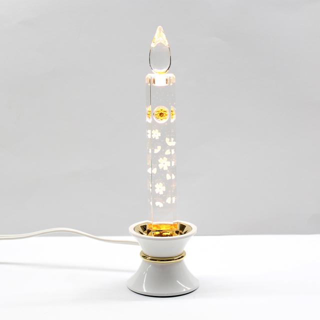 電気クリスタルキャンドル(1灯用)台白/ゴールド