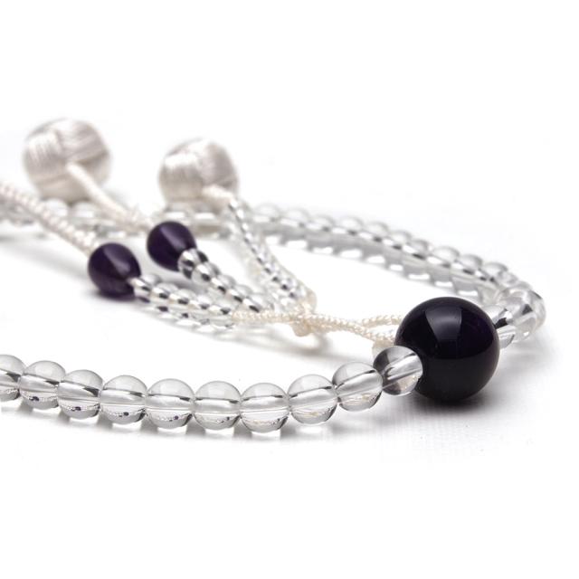 貴石念珠 女性用 水晶と紫水晶