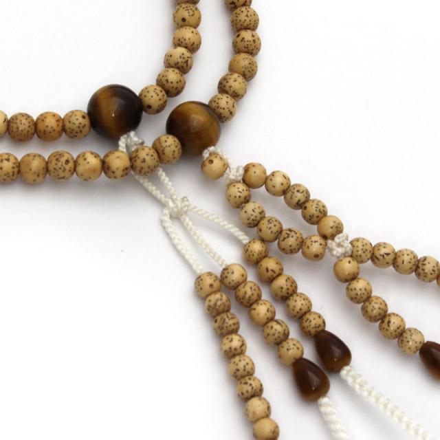 木製念珠 男性用 星月菩提樹と虎目