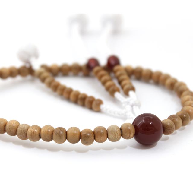 木製念珠 女性用 桜と瑪瑙(メノウ) [特選]