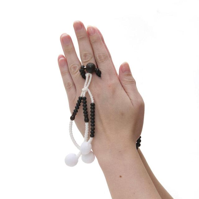 木製念珠 女性用 縞黒檀