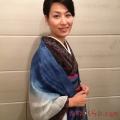 【送料無料】武州草木染の匠が染めた真綿ストール ブルー(藍染め)