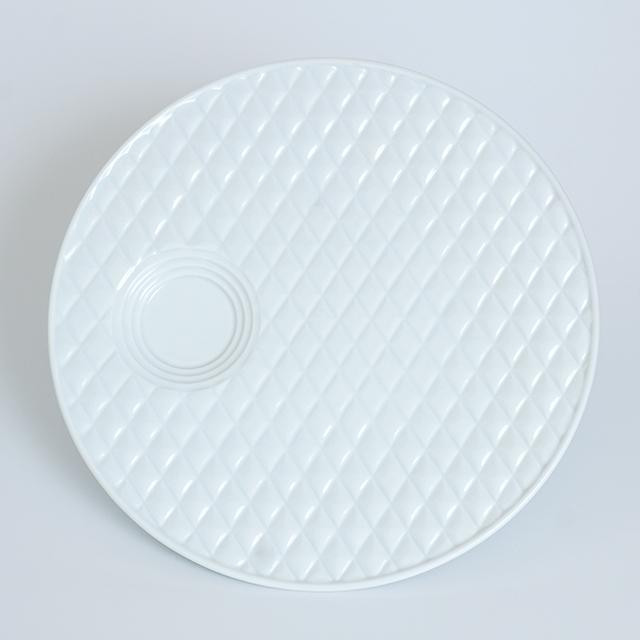 波佐見焼 水晶彫の丹心窯 アミューズ キルティング プレート 白磁 白い器