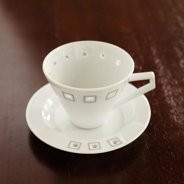 水晶アールデコデミタスカップ&ソーサー