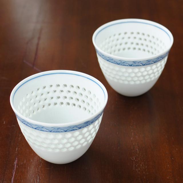 水晶彫の丹心窯  水晶青海波Uカップ