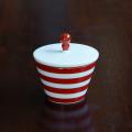 【水晶彫の丹心窯】アミューズカップ 赤ボーダー