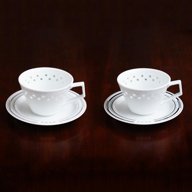【水晶彫の丹心窯】水晶スクエアシリーズ Vコーヒーカップ&ソーサー