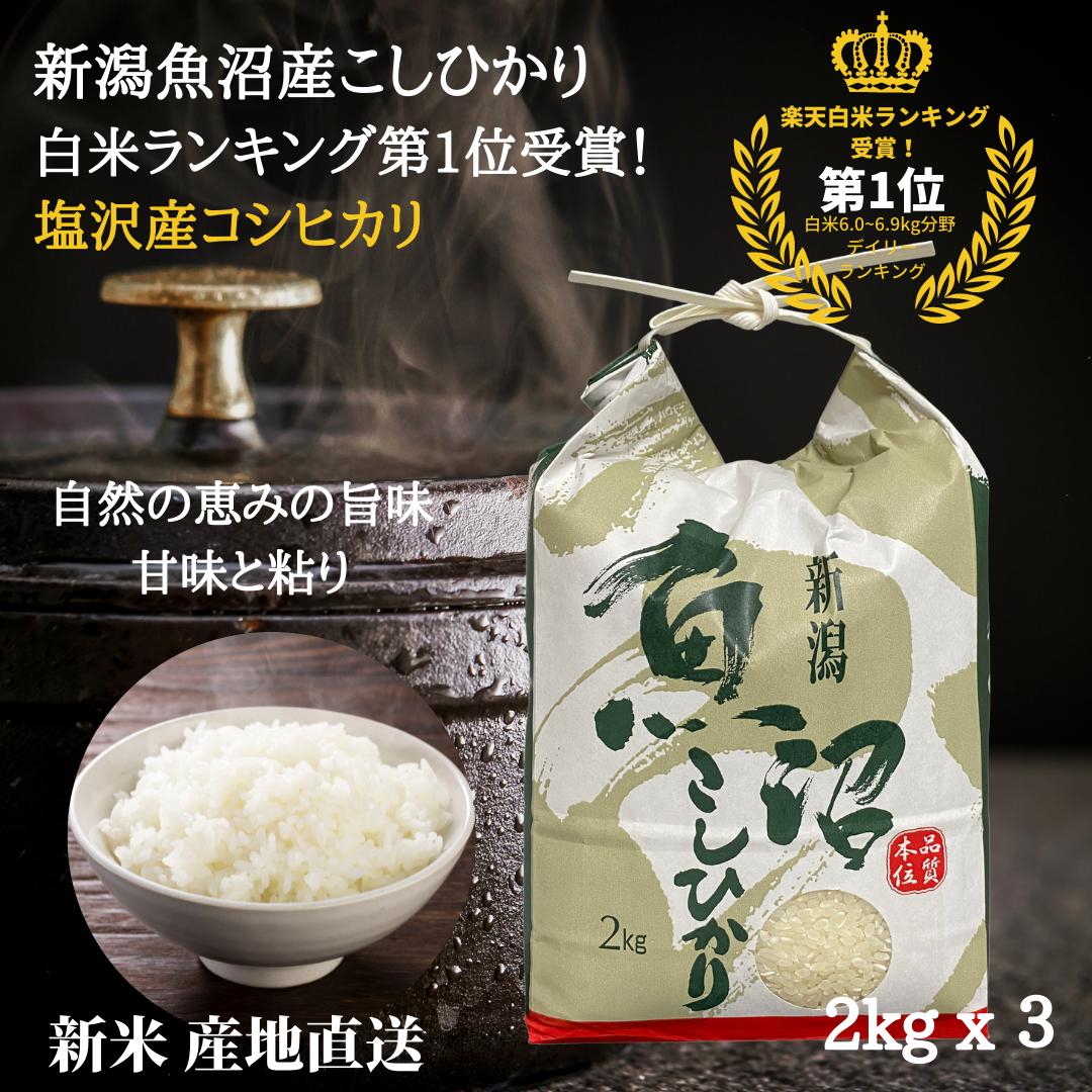 魚沼産コシヒカリ 新米 令和3年産 塩沢産 産地直送  6kg(2KG X 3袋)