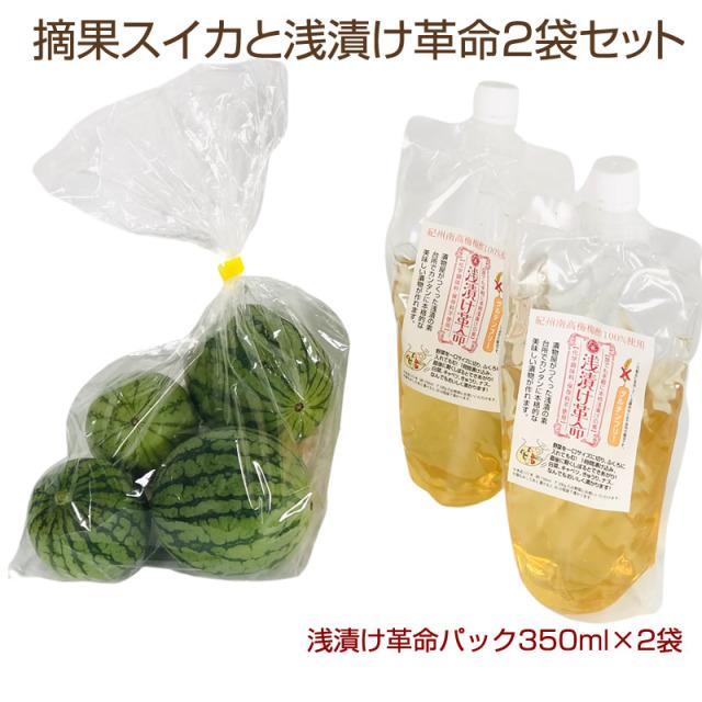 『摘果スイカと浅漬け革命2袋セット』 収穫後、順次発送中※日付指定はできません。