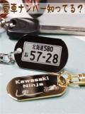 金属製 楕円型小 ナンバープレートキーホルダー
