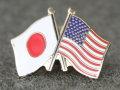 ピンバッチ:日本&米国(日米友好旗ピンバッチ)【ゆうパケット可】
