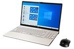 【再生品Aランク】LIFEBOOK AH55/E2 /Windows 10 /Core i7-10510U /32GB Optane + 512GB SSD 8GB FHD DVD シャンパンゴールド