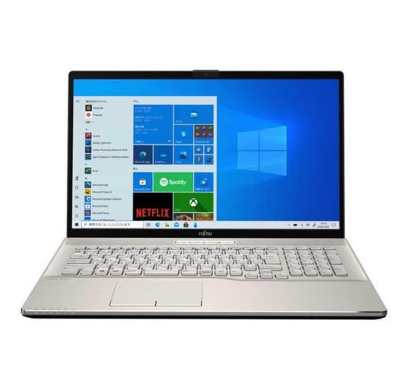 【再生品Aランク】LIFEBOOK NH75/E3 /Windows 10 /AMD Ryzen 5 4500U /256GB SSD + 1TB 8GB 17.3型 FHD Blu-ray シャンパンゴールド