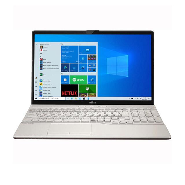 【再生品Aランク】LIFEBOOK AH55/E3 /Windows 10 Home/Core i7-1165G7 /32GB インテル Optane メモリ ー+512GB SSD/メモリ 8GB /FHD Blu-ray シャンパンゴールド